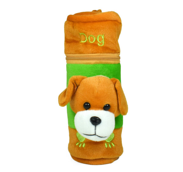 Feeding Bottle Cover With Plush Dog - Brown-27350