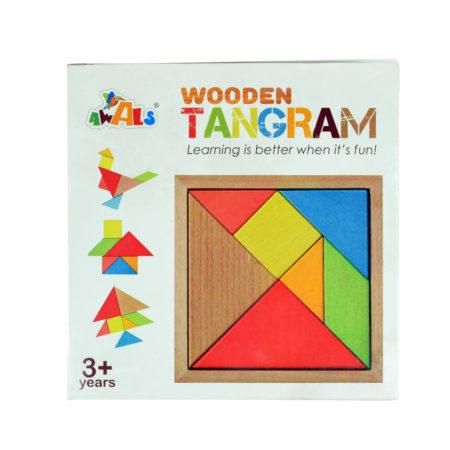 Awals Wooden Tangram Puzzle 7 Pieces - Multicolour-0