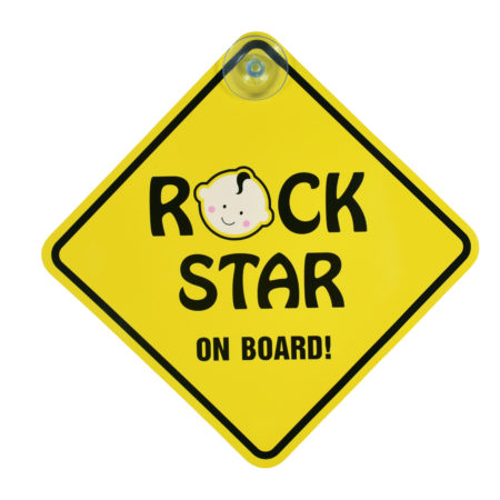 "Baby Caution Car Sticker ""Rock Star on Board""-0"