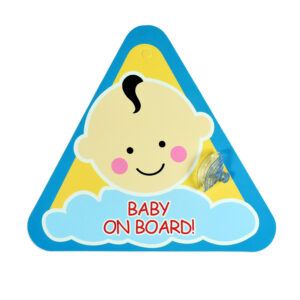 "Baby Caution Car Sticker ""Baby on Board"" - Blue/Yellow-0"