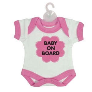 Baby On Board Sign Hanger (Onesies Style) - Pink-0