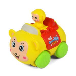Animal Cartoon Musical Friction Car - Yellow-0