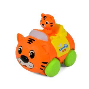 Animal Cartoon Musical Friction Car - Orange-0