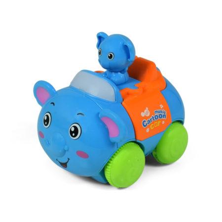 Animal Cartoon Musical Friction Car - Sky Blue-0