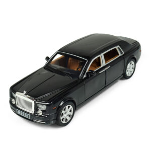 1:24 Scale Pull Back Die Cast Rolls Royce Phantom Musical Luxury Car - Black-0