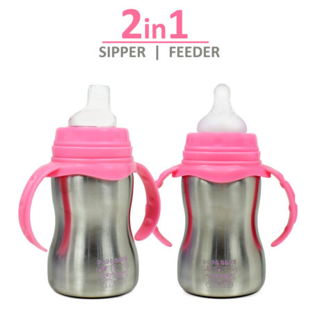 Papa Baby 2 in 1 Steel Feeding Bottle cum Spout Sipper - Pink-0