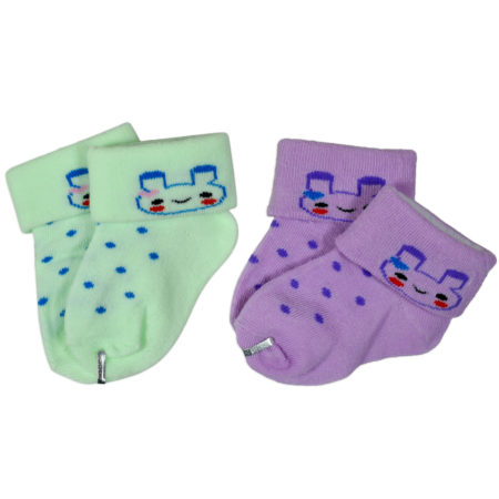 New Born Baby Socks, Pack of 2 - Aqua/Purple-0