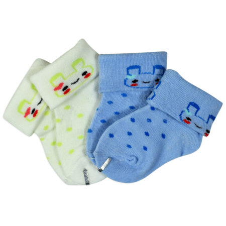 New Born Baby Socks Pack of 2 - Blue/White-0