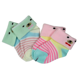 New Born Baby Socks, Pack of 2 - Pink/Green-0