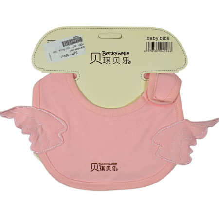 Baby Cotton Bib Wings Embroidered Appliques, Burp Cloth - Pink-0