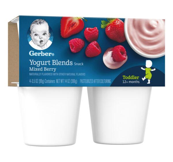 Gerber Yogurt Blends Snack Mixed Berry 4-99gm Cups-27365