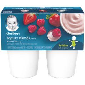 Gerber Yogurt Blends Snack Mixed Berry 4-99gm Cups-0
