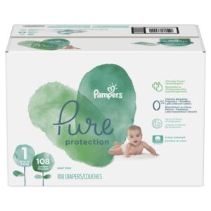 Pampers Pure Disposable Baby Diapers Size 1 - 108 Pcs-0