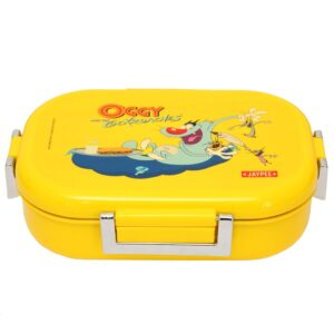 Jaypee Missteel Insulated Oggy Plastic Lunch Box Set, 700ml, 3-Pieces, Yellow-0