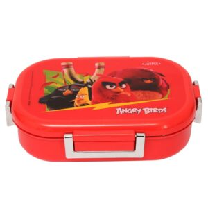Jaypee Missteel Insulated Angry Birds Plastic Lunch Box Set, 700ml, 3-Pieces - Red-0