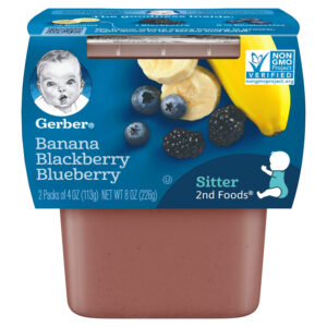 Gerber 2nd Foods Banana Blackberry Blueberry, 113gm Tubs, 2 Count-0