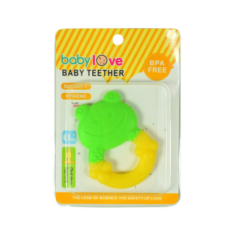 Baby Teether for Oral Development, Frog - Green/Yellow-0