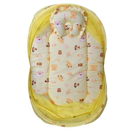 Gadda Set With Mosquito Net Premium Quality Velvet - Yellow-0