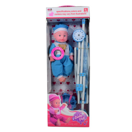 """12"""" Inch Lovely Doll with Stroller Playset - Blue-0"""