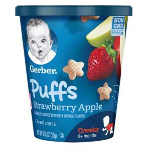 Gerber Puffs Strawberry Apple Snack Cup (Crawler 8M+) - 20gm-0