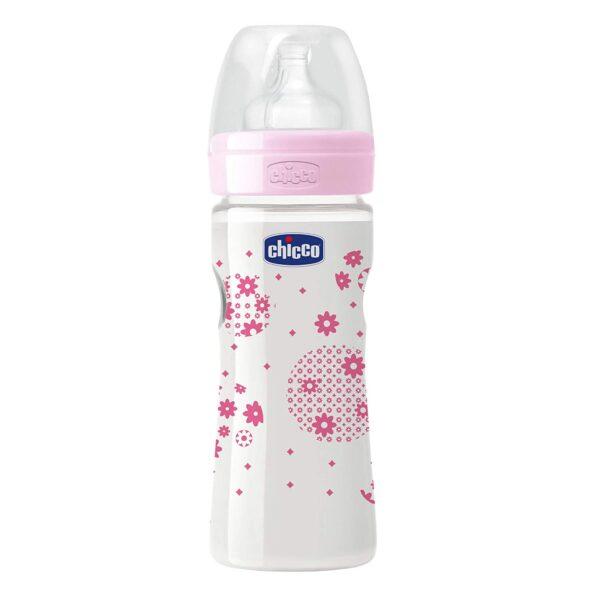 Chicco Well Being Polypropylene Medium Flow Feeding Bottle Pink - 250 ml-0