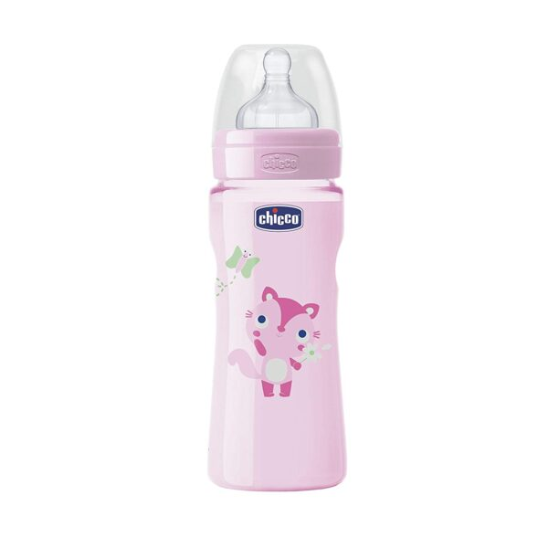 Chicco Wellbeing Fast Flow Feeding Bottle - 330ml (Pink)-29236