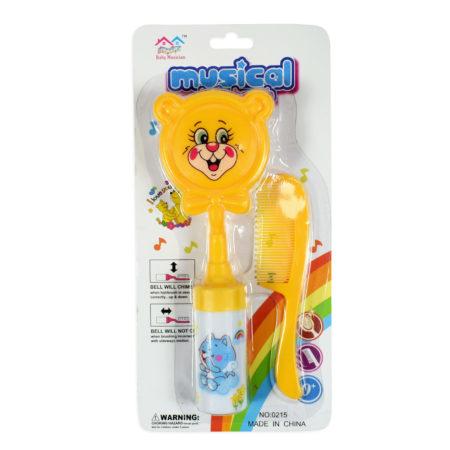 Baby Musical Hair-Brush & Comb Set - Yellow-0