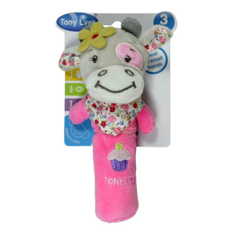 Tony Jungle Squeaker, Baby Rattle - Cow-0