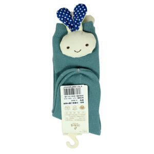 Kids Long Socks with Plush Rabbit Applique - Green-0