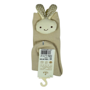 Kids Long Socks with Plush Rabbit Applique - Beige-0