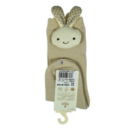 Kids Long Socks with Plush Rabbit Applique - Beige-0