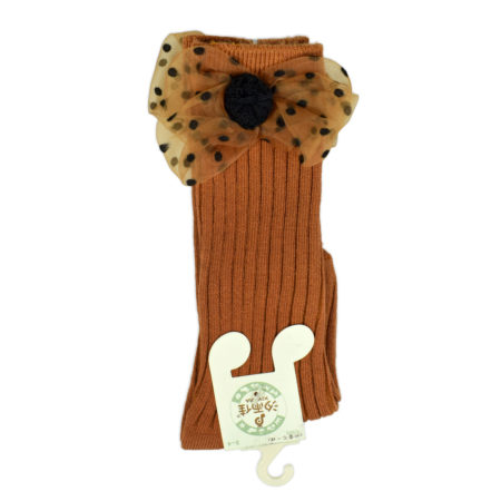 Kids Long Socks with Bow Applique - Choco-0