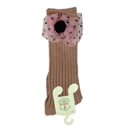 Kids Long Socks with Bow Applique - Brown-0