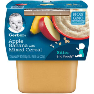 Gerber 2nd Foods,Apple Banana with Mixed Cereal, Baby Food, 113gm Tube, 2-Count -0