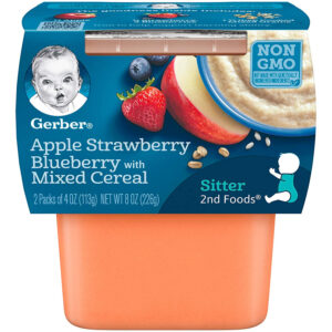 Gerber 2nd Foods,Apple Strawberry Blueberry with Mixed Cereal Baby Food, 113gm Tube, 2-Count -0