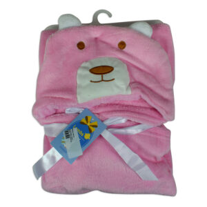 Baby Fleece Hooded Blanket - Pink-0
