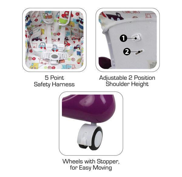 Luvlap Royal Highchair with Wheels - Purple-30302