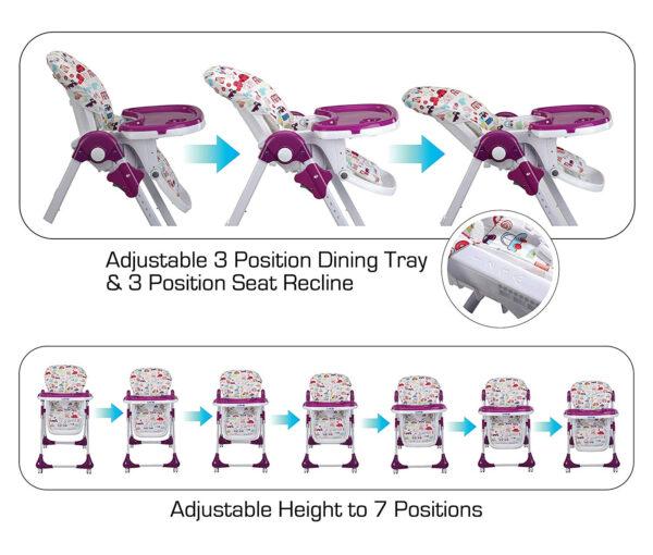 Luvlap Royal Highchair with Wheels - Purple-30305