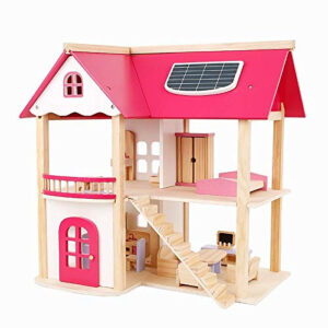 Pretend Play Wooden Pink Dollhouse, Doll House with Furniture for Kids-0