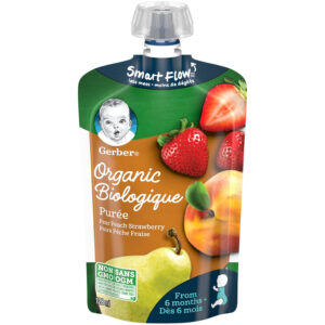 Gerber Organic Puree - Pear Peach Strawberry, Baby Food - 128ml-0