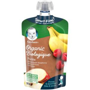Gerber Organic Puree - Banana Apple Raspberry, Baby Food - 128ml-0