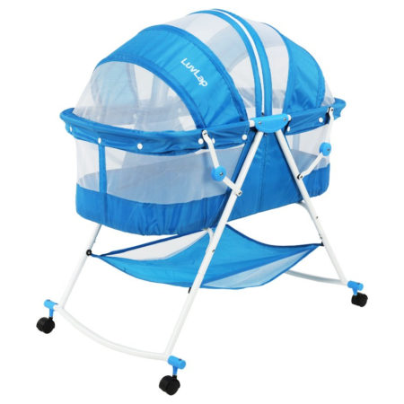 Luvlap Sunshine Baby Bed, Bassinet with Wheels (18364) - Blue-0