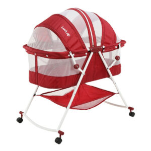 Luvlap Sunshine Baby Bed, Bassinet with Wheels (18362) - Red-0