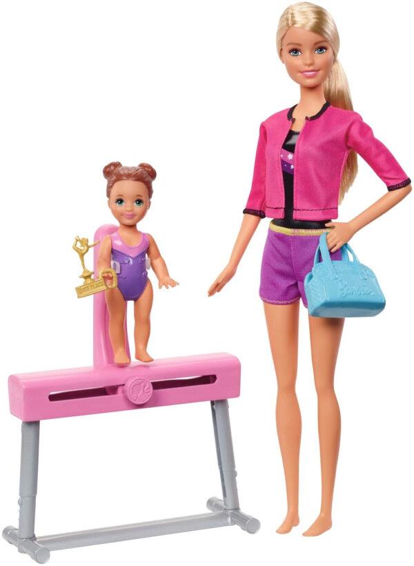 Barbie Gymnastics Coach Dolls and Playset-0