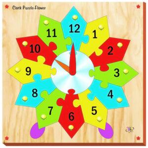 Kinder Creative Flower Clock Puzzle - Brown-0