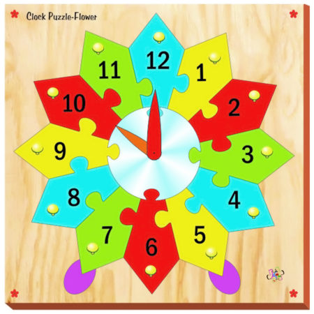 Kinder Creative Flower Clock Puzzle - Brown-0