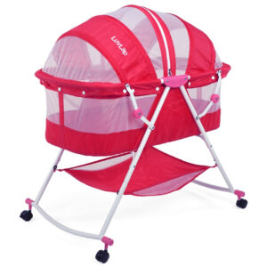 Luvlap Sunshine Baby Bed, Bassinet with Wheels (18363) - Pink-0