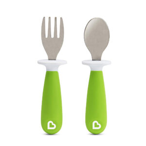 Munchkin 2 Piece Raise Toddler Fork and Spoon (12+) - Green-0