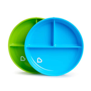 Munchkin Stay Put Divided Suction Plates - Blue/Green -0