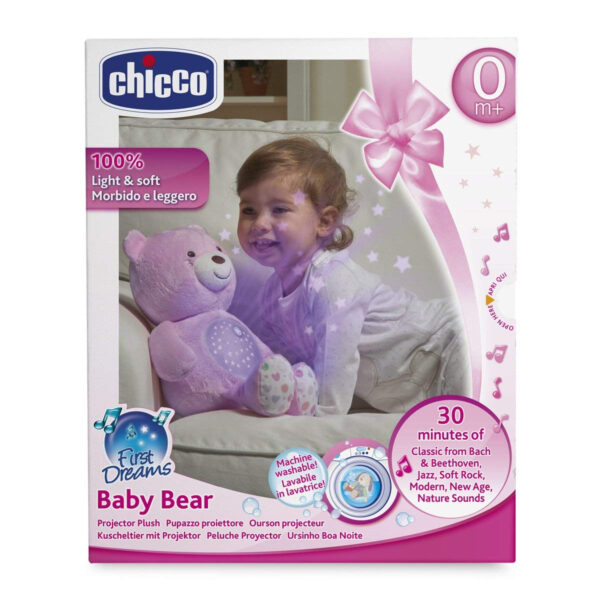 Chicco First Dreams Baby Plush Teddy Bear, Musical Night Light - Pink-31224